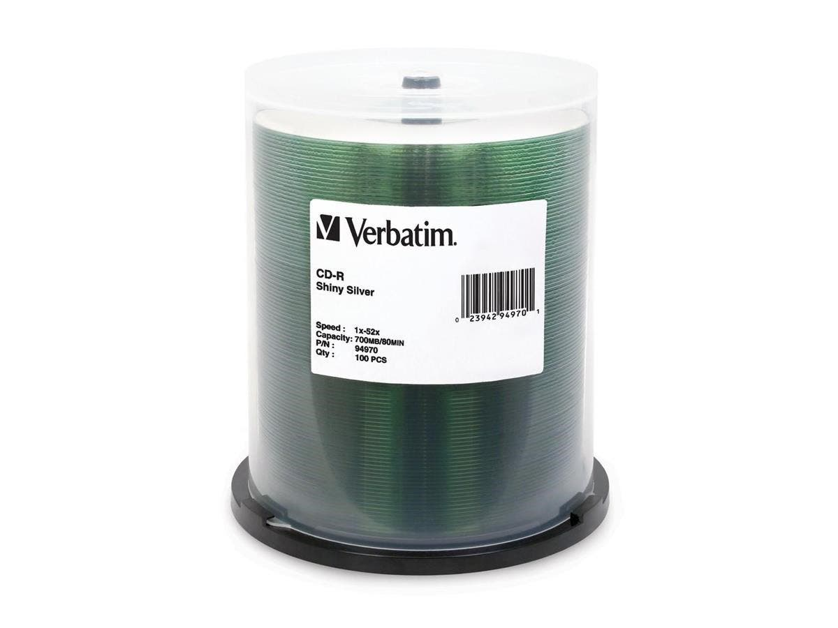 Verbatim CD-R 700MB 52X Shiny Silver Silk Screen Printable - 100pk Spindle - 700MB - 100 Pack-Large-Image-1