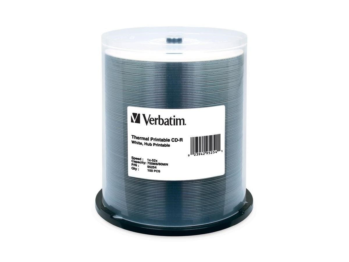 Verbatim CD-R 700MB 52X White Thermal Printable, Hub Printable - 100pk Spindle - 700MB - 100 Pack-Large-Image-1