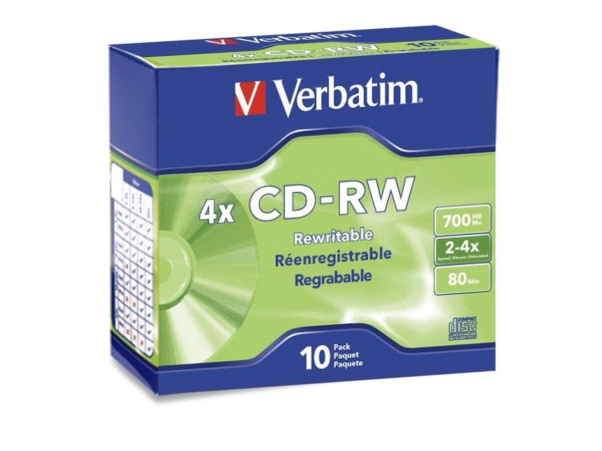 Verbatim CD-RW 700MB 2X-4X with Branded Surface - 10pk Slim Case - TAA Compliant - 700MB - 10 Pack