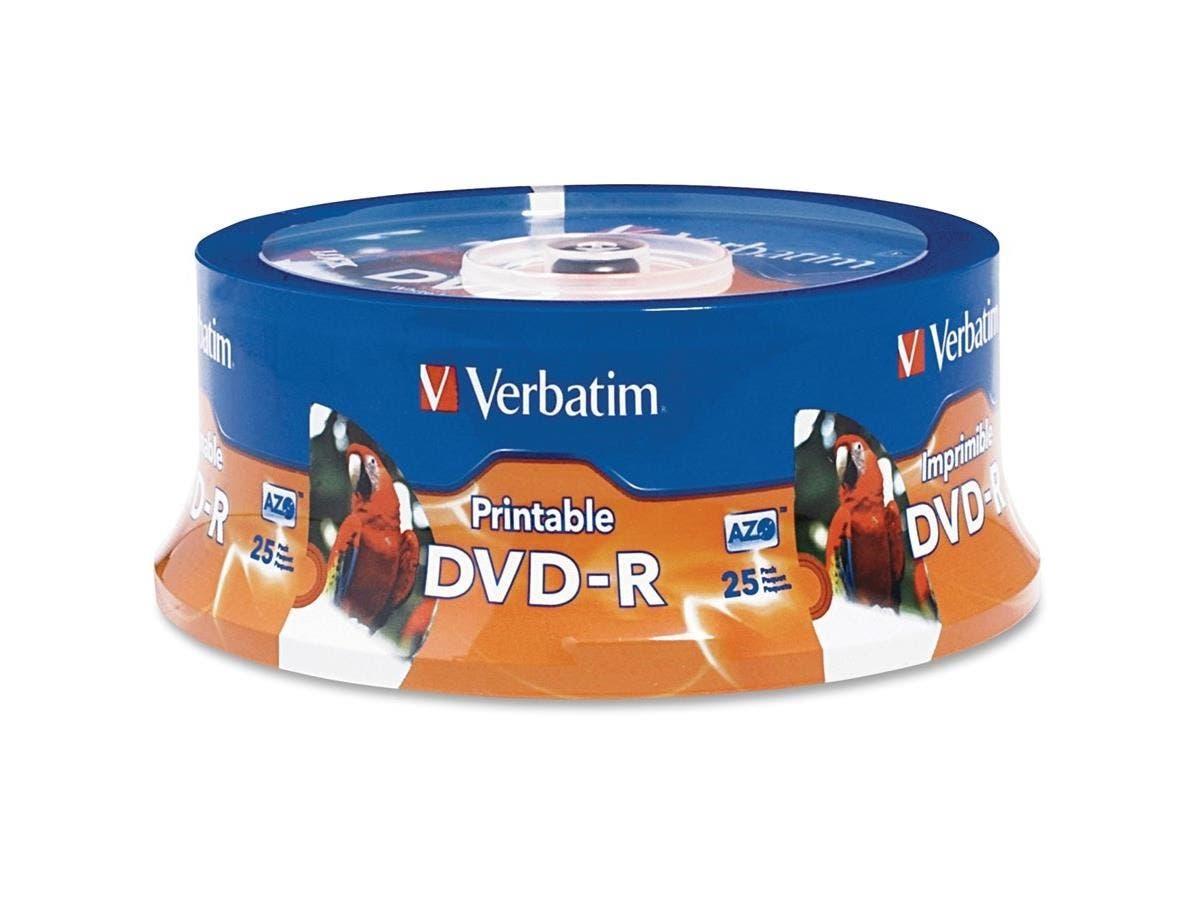 Verbatim DVD-R 4.7GB 16X White Inkjet Printable, Hub Printable - 25pk Spindle - TAA Compliant - Inkjet Printable-Large-Image-1