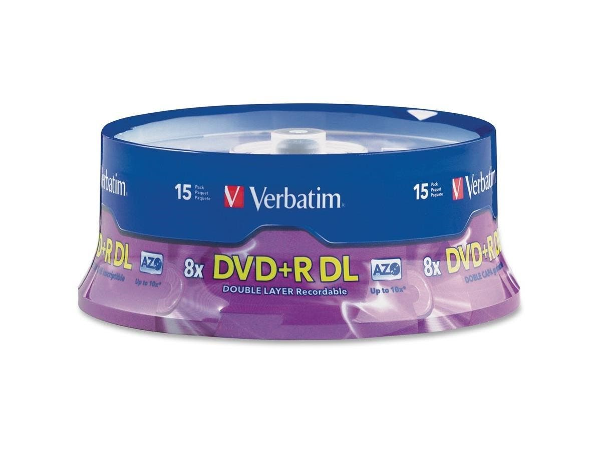 Verbatim DVD+R DL 8.5GB 8X with Branded Surface - 15pk Spindle-Large-Image-1