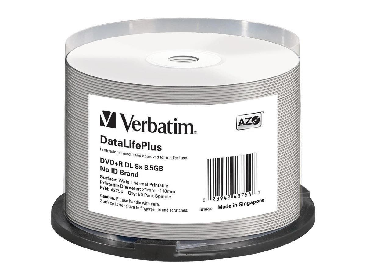 Verbatim DVD+R DL 8.5GB 8X DataLifePlus White Thermal Printable, Hub Printable - 50pk Spindle - 120mm - Printable - Thermal Printable-Large-Image-1