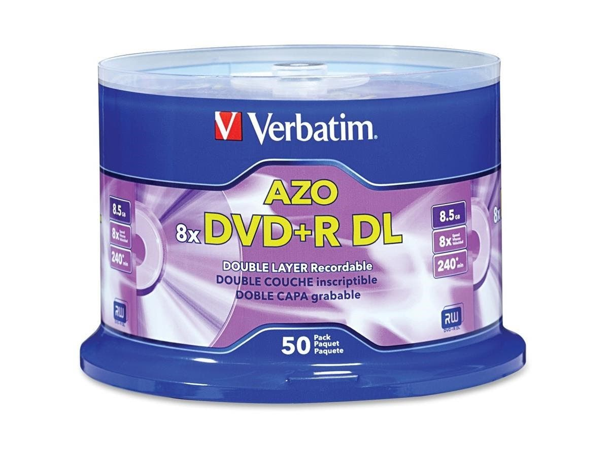 Verbatim DVD+R DL 8.5GB 8X with Branded Surface - 50pk Spindle - 120mm - 4 Hour Maximum Recording Time-Large-Image-1