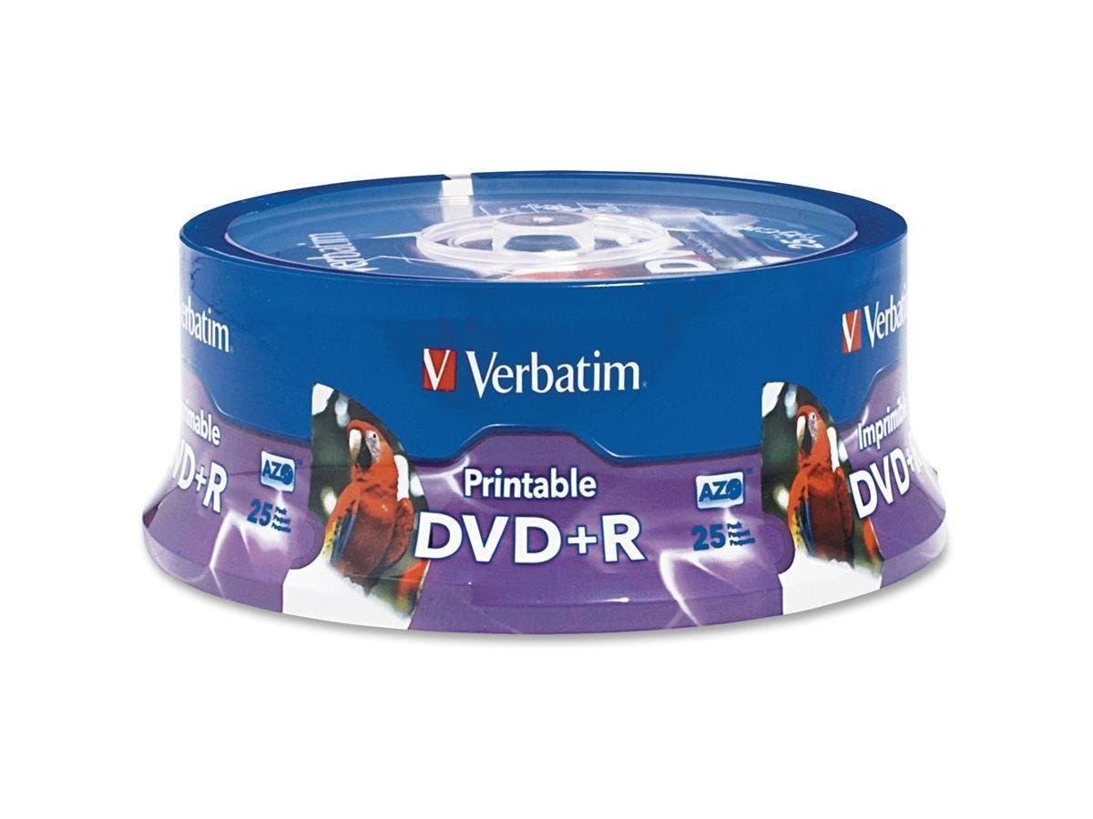 Verbatim DVD+R 4.7GB 16X White Inkjet Printable, Hub Printable - 25pk Spindle - TAA Compliant - Inkjet Printable