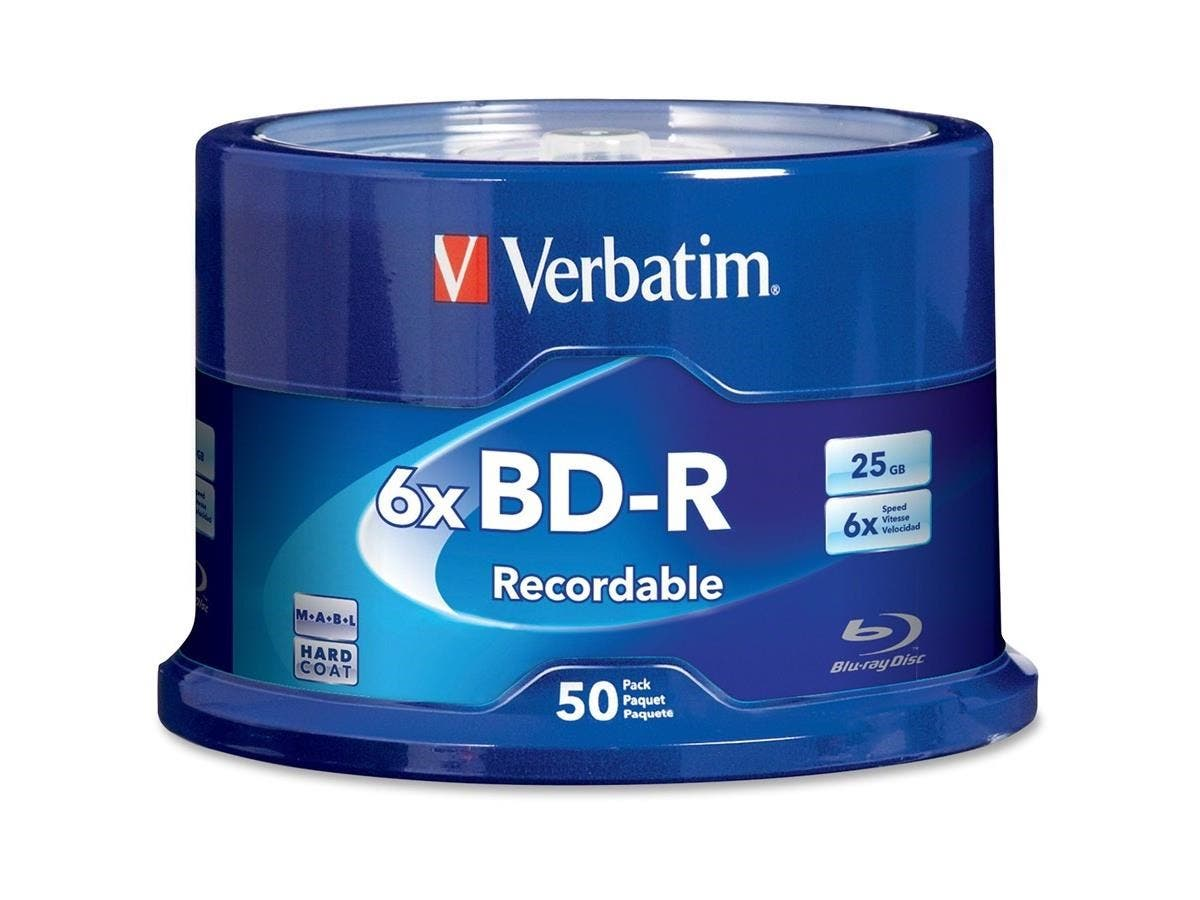 Verbatim BD-R 25GB 6X with Branded Surface - 50pk Spindle - TAA Compliant - 50pk Spindle-Large-Image-1