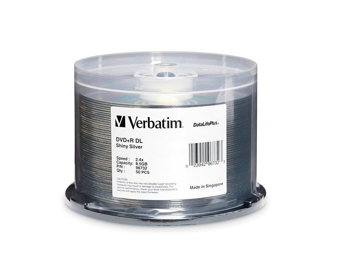 Verbatim DVD+R DL 8.5GB 8X DataLifePlus Shiny Silver Silk Screen Printable - 50pk Spindle - 8.5GB - 120mm Standard - 50 Pack Spindle