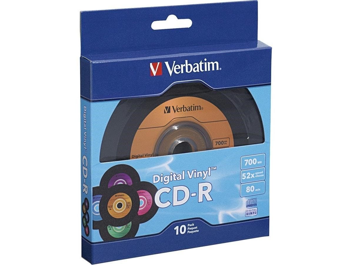 Verbatim CD-R 80min 52X with Digital Vinyl Surface - 10pk Bulk Box - TAA Compliant - 120mm - 1.33 Hour Maximum Recording Time-Large-Image-1