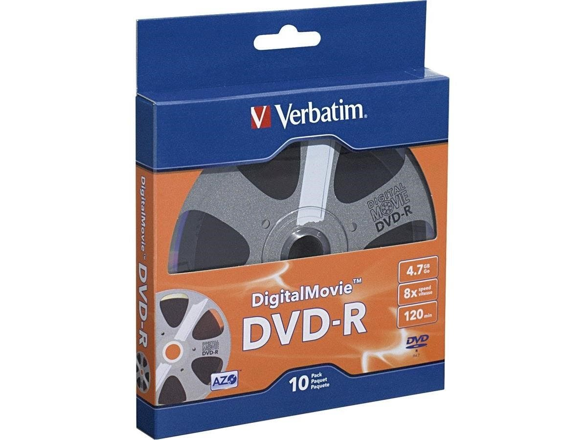 Verbatim DVD-R 4.7GB 8X with DigitalMovie Surface - 10pk Bulk Box - TAA Compliant - 120mm - 2 Hour Maximum Recording Time-Large-Image-1