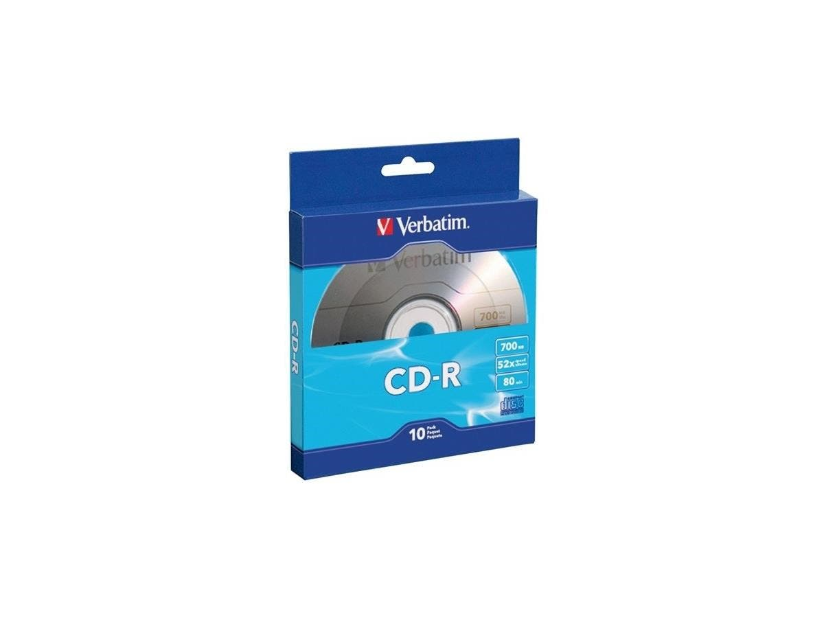 Verbatim CD-R 700MB 52X with Branded Surface - 10pk Bulk Box - TAA Compliant - 120mm - 1.33 Hour Maximum Recording Time-Large-Image-1