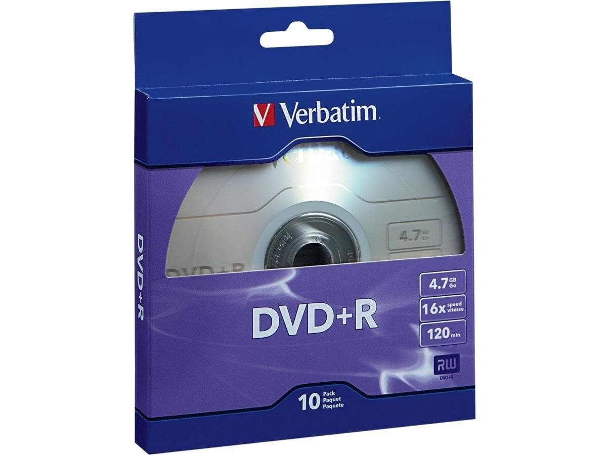 Verbatim DVD+R 4.7GB 16X with Branded Surface - 10pk Bulk Box - TAA Compliant - 120mm - 2 Hour Maximum Recording Time-Large-Image-1