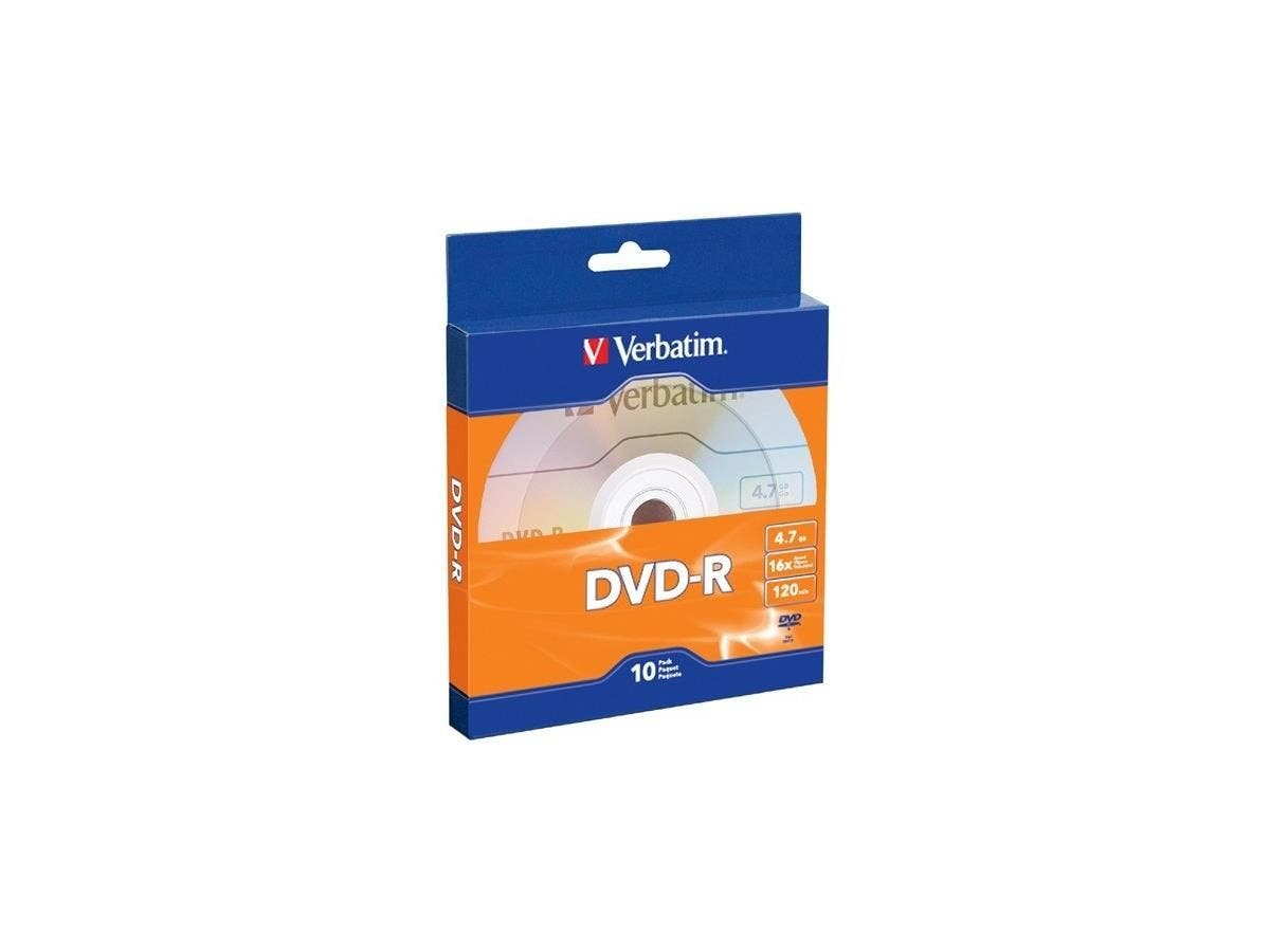 Verbatim DVD-R 4.7GB 16X with Branded Surface - 10pk Bulk Box - TAA Compliant - 120mm - 2 Hour Maximum Recording Time-Large-Image-1