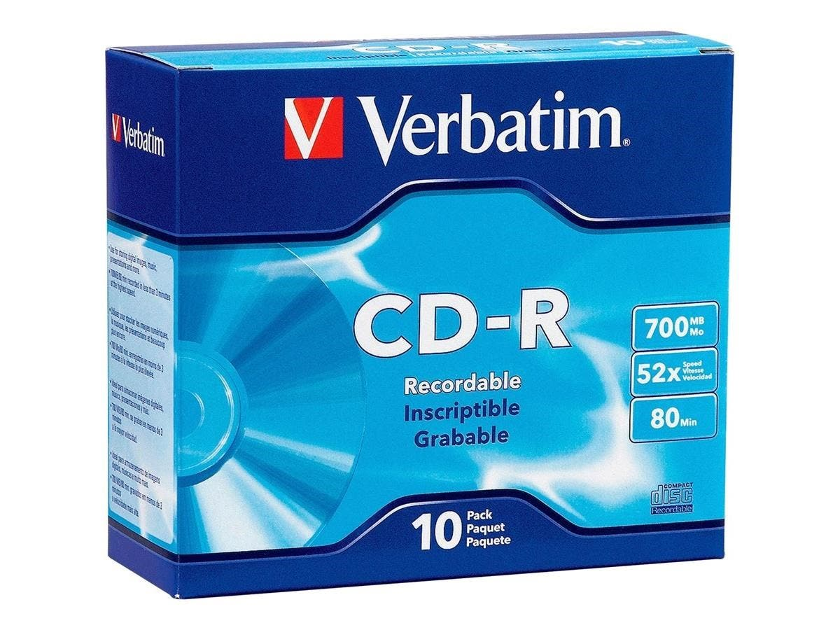 Verbatim CD-R 700MB 52X with Branded Surface - 10pk Slim Case - 52X - 700MB - 10pk Slim Case-Large-Image-1