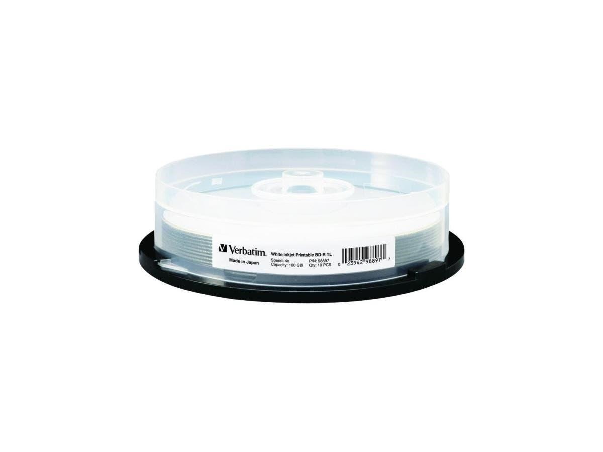Verbatim BD-R XL 100GB 4X White Inkjet Printable, Hub Printable - 10pk Spindle - TAA Compliant - 100GB - 10pk Spindle-Large-Image-1