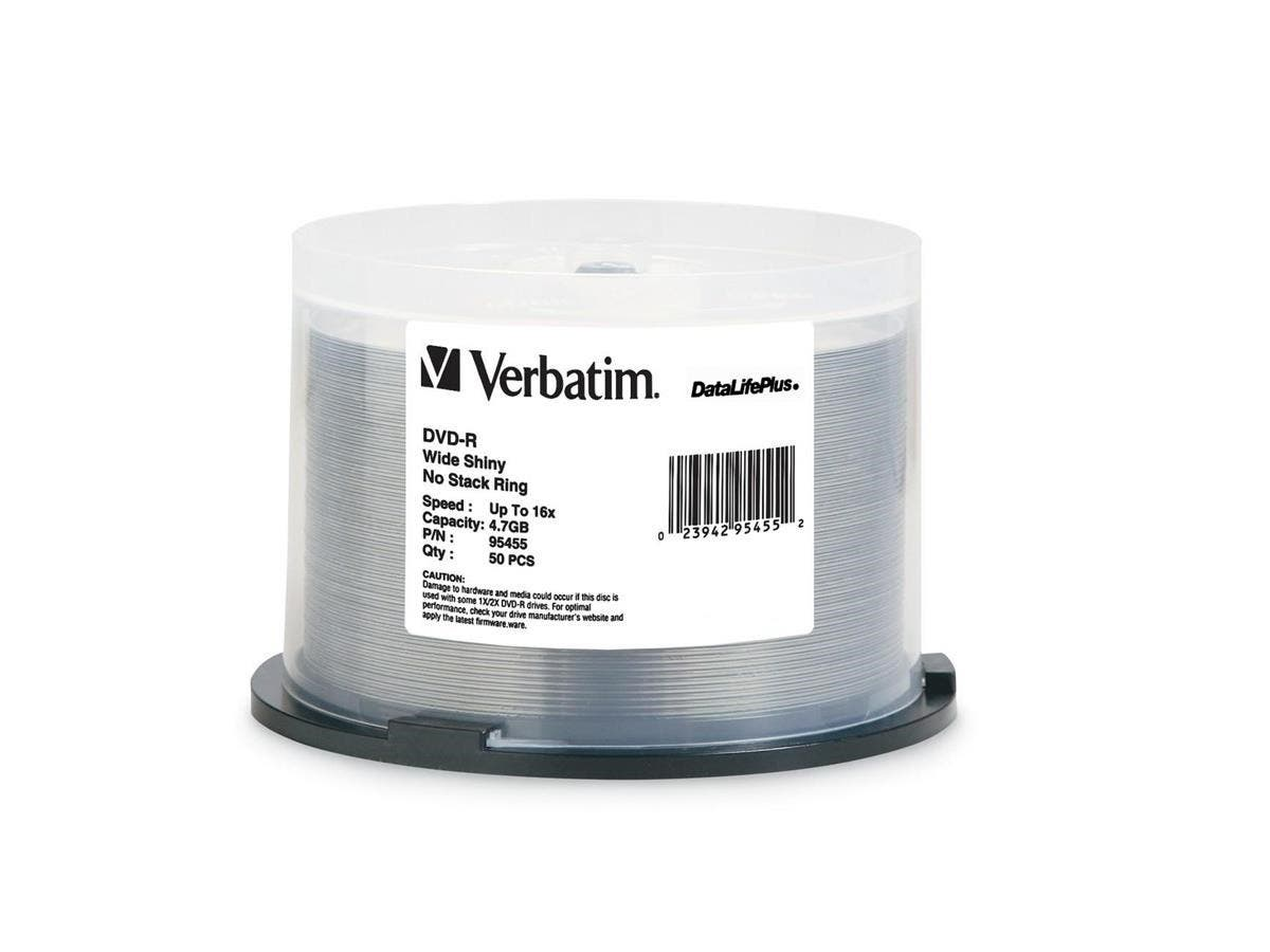 Verbatim DVD-R 4.7GB 16X DataLifePlus Shiny Silver Silk Screen Printable, Hub Printable - 50pk Spindle - TAA Compliant - 4.7GB - 50 Pack