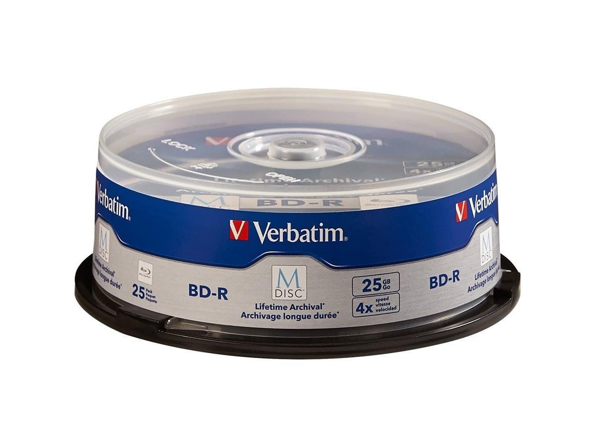 Verbatim M-Disc BD-R 25GB 4X with Branded Surface - 25pk Spindle - TAA Compliant - 120mm-Large-Image-1