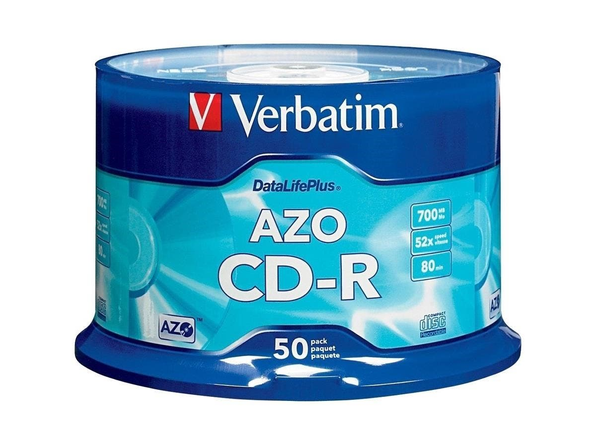 Verbatim CD-R 700MB 52X DataLifePlus with Branded Surface - 50pk Spindle - 120mm - 1.33 Hour Maximum Recording Time-Large-Image-1