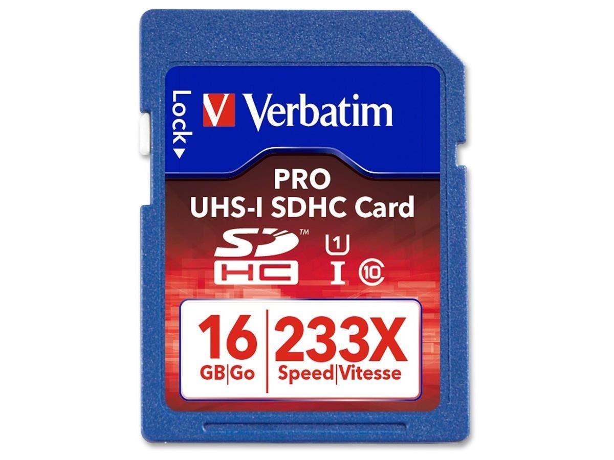 Verbatim 16GB 233X Pro SDHC Memory Card, UHS-1 Class 10 - TAA Compliant - Class 10/UHS-I - 35 MBps Read - 1 Card - 233x Memory Speed