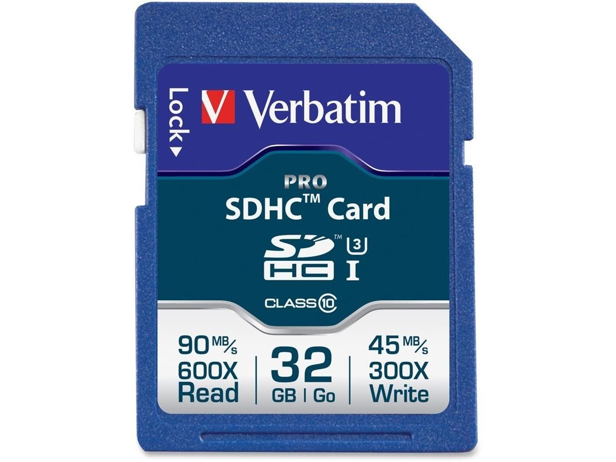 Verbatim 32GB Pro 600X SDHC Memory Card, UHS-1 U3 Class 10 - TAA Compliant - Class 10/UHS-I - 1 Card - 600x Memory Speed-Large-Image-1