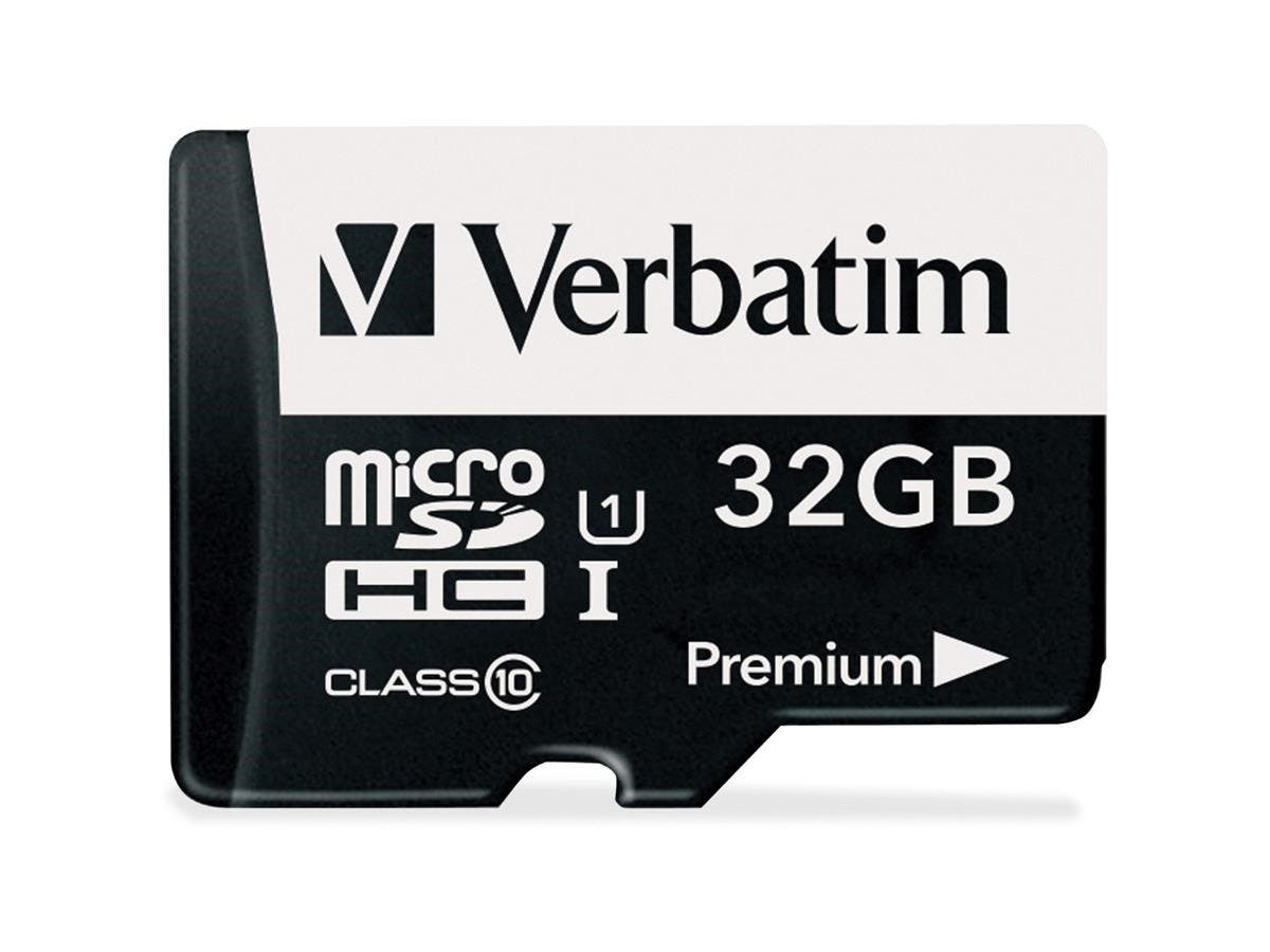Verbatim 32GB Premium microSDHC Memory Card with Adapter, UHS-I Class 10 - TAA Compliant - Class 10 - 1 Card/1 Pack-Large-Image-1