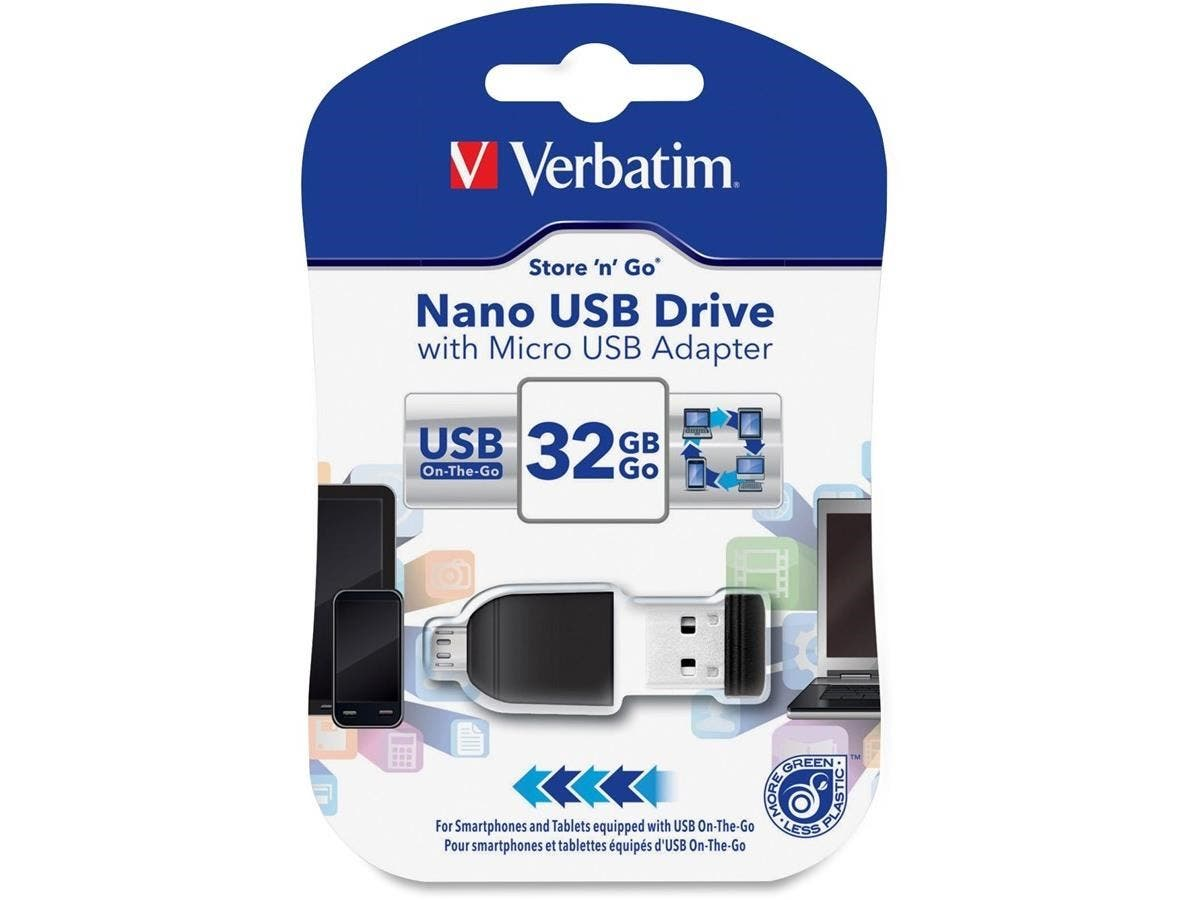 Verbatim 32GB Nano USB Flash Drive with USB OTG Micro Adapter - Black - 32GB - 1 Pack-Large-Image-1