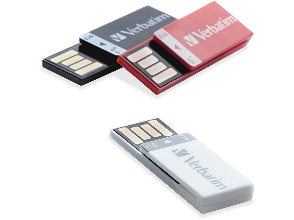 "Verbatim 8GB Clip-It USB Flash Drive - 3pk - Black, White, Red - 8 GB - Red, Black, White - 3 Pack""-Large-Image-1"