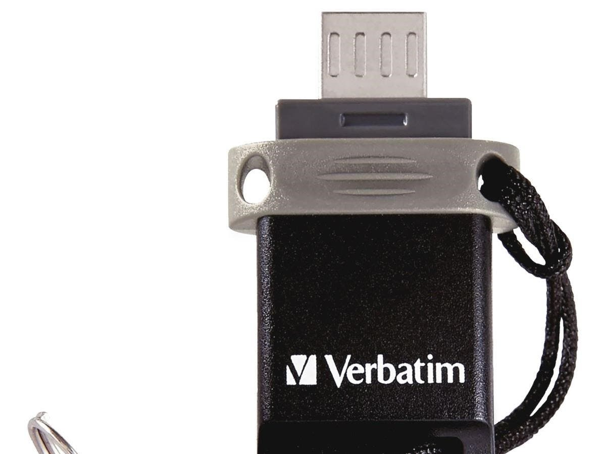 "Verbatim 16GB Store 'n' Go Dual USB Flash Drive for OTG Devices - TAA Compliant - 16 GBMicro USB, USB 2.0 - 1 Pack""-Large-Image-1"