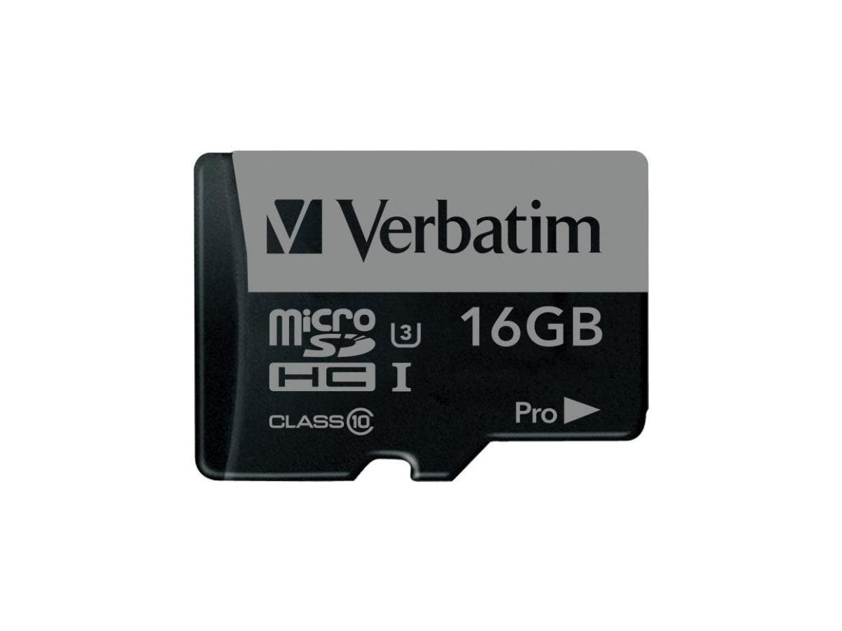 Verbatim 16GB Pro 600X microSDHC Memory Card with Adapter, UHS-I U3 Class 10 - TAA Compliant - Class 10/UHS-I (U3) - 90 MB/s Read1 Pack - 600x Memory Speed-Large-Image-1