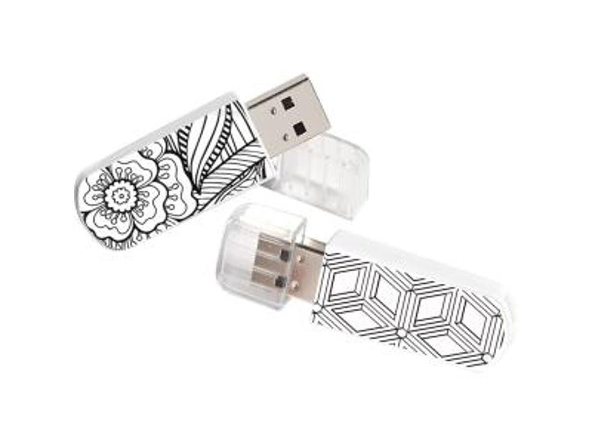 Verbatim® Coloring Book USB 2.0 Flash Drives, 16GB, Black/White, Pack Of 2, 99804