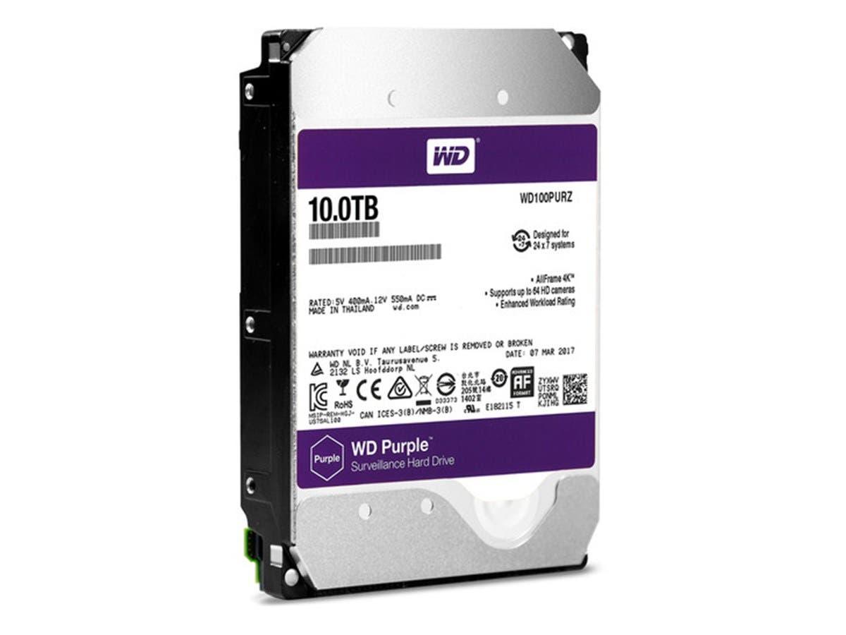 "WD 10TB Purple 5400 rpm SATA III 3.5"" Internal Surveillance Hard Drive-Large-Image-1"