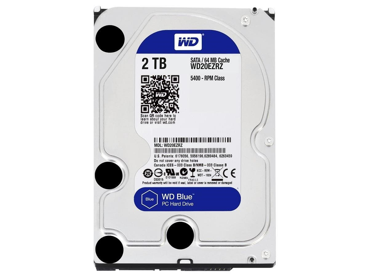 "WD Blue WD20EZRZ-20PK 2 TB 3.5"" Internal Hard Drive - SATA - 5400rpm - 64 MB Buffer - 20 Pack"