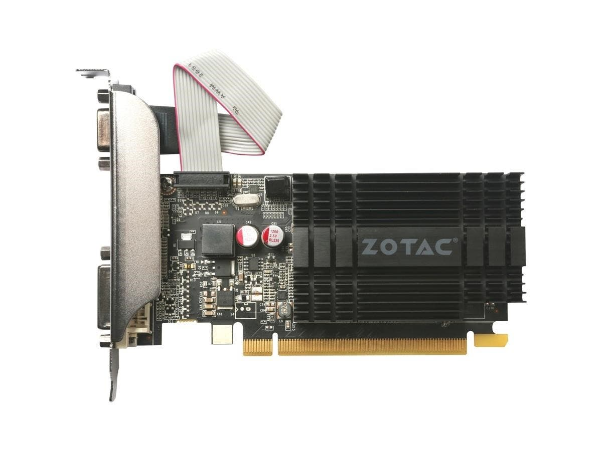 Zotac GeForce GT 710 Graphic Card - 954 MHz Core - 1 GB DDR3 SDRAM - PCI Express 2.0 - Low-profile - Single Slot Space Required - 64 bit Bus Width - SLI - Passive Cooler - OpenGL 4.5, OpenCL, DirectX -Large-Image-1