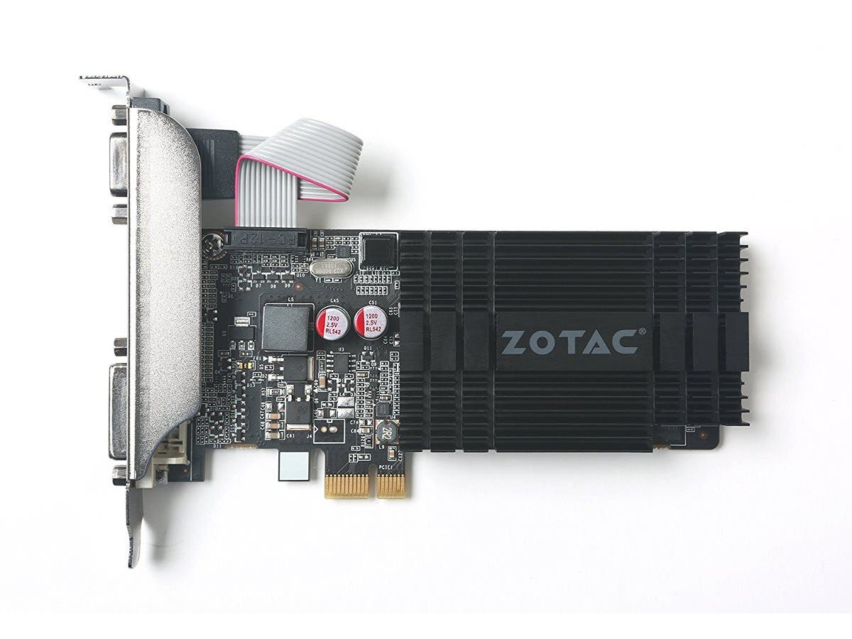 Zotac GeForce GT 710 Graphic Card - 954 MHz Core - 1 GB DDR3 SDRAM - PCI Express x1 - Half-length/Low-profile - Single Slot Space Required - 64 bit Bus Width - SLI - Passive Cooler - OpenGL 4.5, Direc