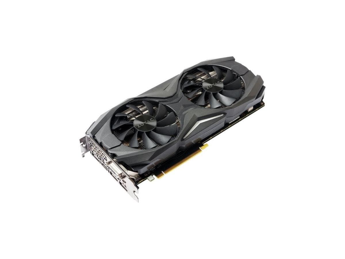Zotac GeForce GTX 1080 Graphic Card - 1.68 GHz Core - 1.82 GHz Boost Clock - 8 GB GDDR5X - PCI Express 3.0 - Dual Slot Space Required - 256 bit Bus Width - SLI - Fan Cooler - OpenGL 4.5, DirectX 12 -
