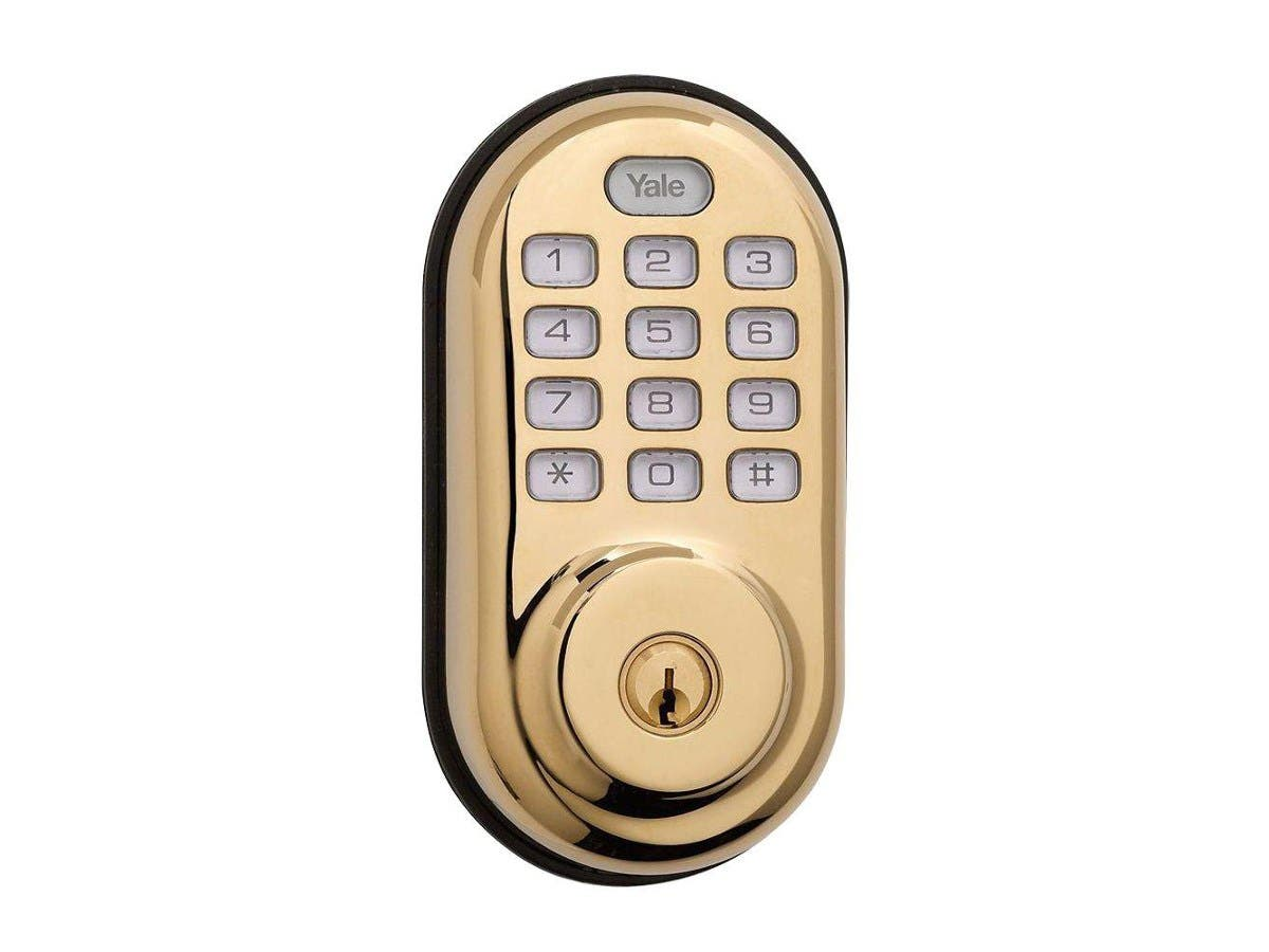 Yale Real Living Electronic Push Button Deadbolt Fully Motorized with Zwave Technology (Brass)
