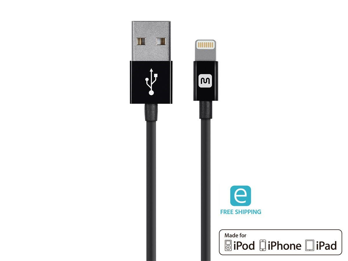 Monoprice Essentials Apple MFi Certified Lightning to USB Charge & Sync Cable, 3ft Black-Large-Image-1