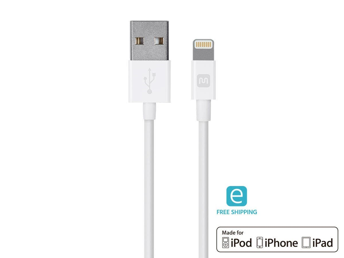 Select Series Apple MFi Certified Lightning to USB Charge & Sync Cable, 3ft White