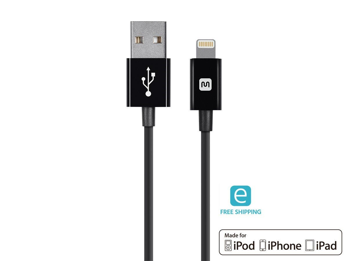 Monoprice Essentials Lightning to USB Cable, Apple MFi Certified, Black, 6ft -Large-Image-1