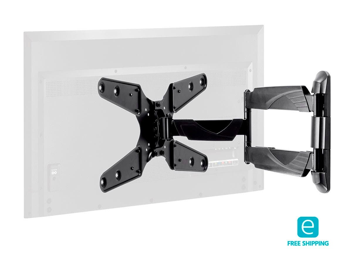 Monoprice Essentials Ultra-Slim Full-Motion Articulating TV Wall Mount Bracket - TVs 24in to 55in, Max Weight 77lbs, Extends from 1.77in to 20in, VESA Up to 400x400, Rotating , UL Certified-Large-Image-1