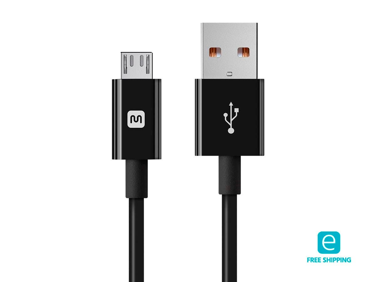 Monoprice Essentials USB-A to Micro B Cable - 2.4A, Black, 3ft
