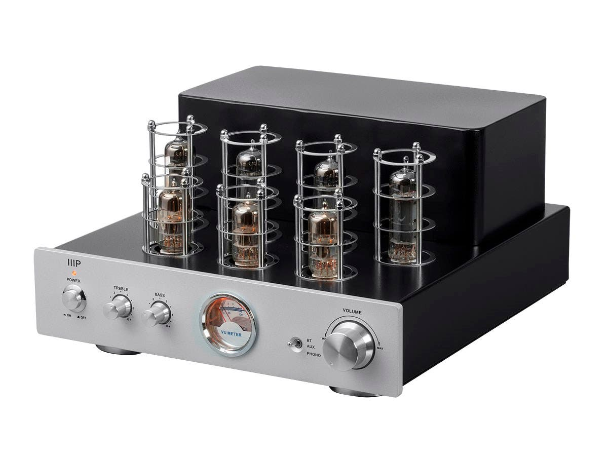 Monoprice Pure Tube Stereo Amplifier With Bluetooth Line And Phono Class A Power 60 Watts Output Inputs Large