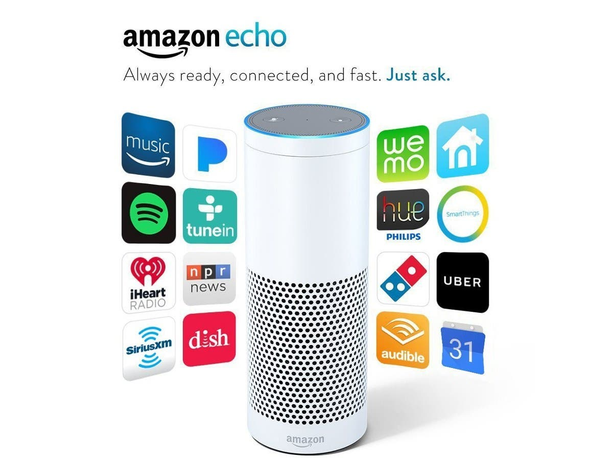 Amazon Echo White Portable bluetooth speaker Mic Wifi Alexa smart home -Large-Image-1