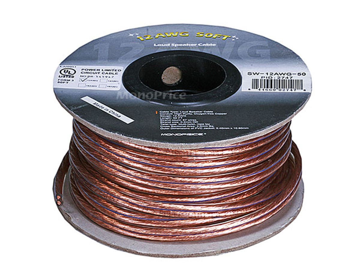 Monoprice Choice Series 12awg Oxygen Free Pure Bare Copper Speaker High Performance Car Audio Wiring Wire 50ft Small