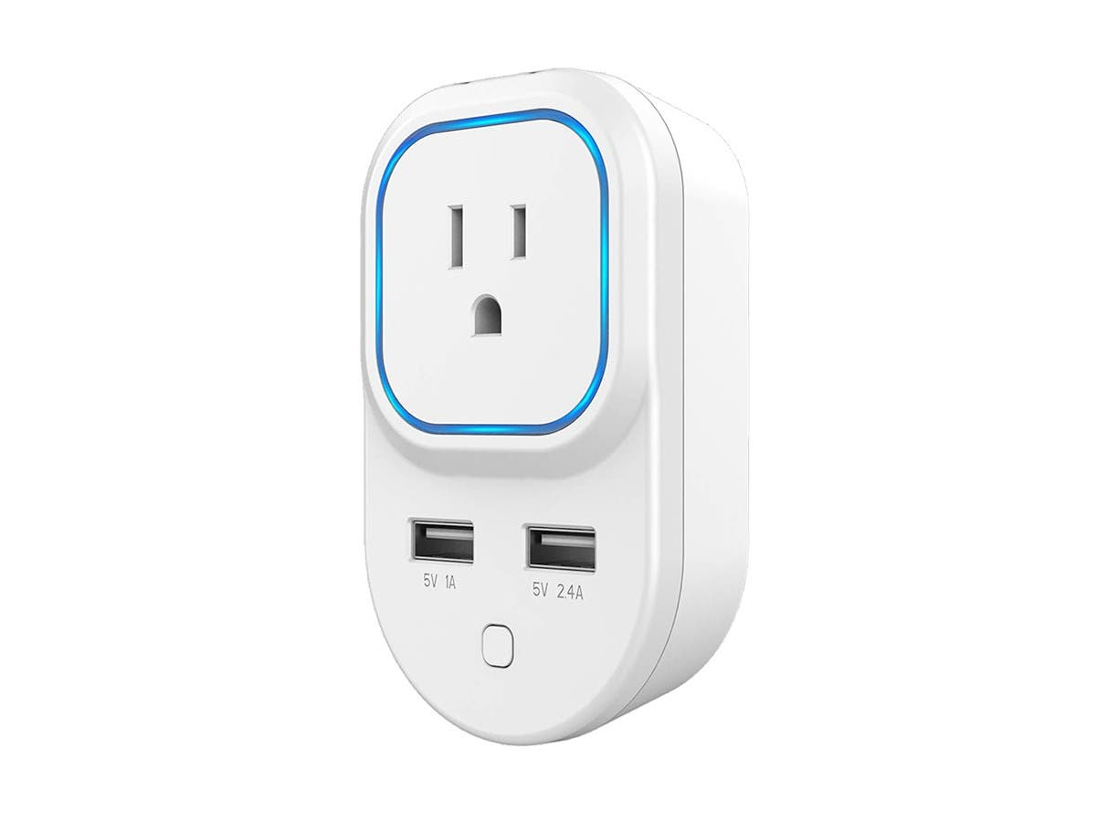 Monoprice Z-Wave Plus Smart Plug and Repeater with 2 USB Ports (Works with Alexa & Google Home with Hub)-Large-Image-1