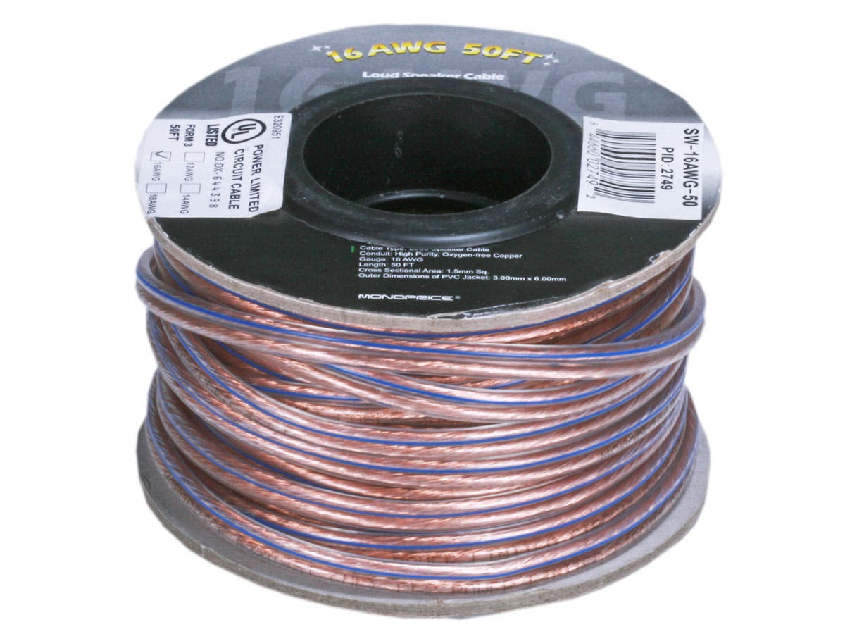 Monoprice Choice Series 16awg Oxygen Free Pure Bare Copper Speaker Audio Cable Wiring Wire 50ft Small