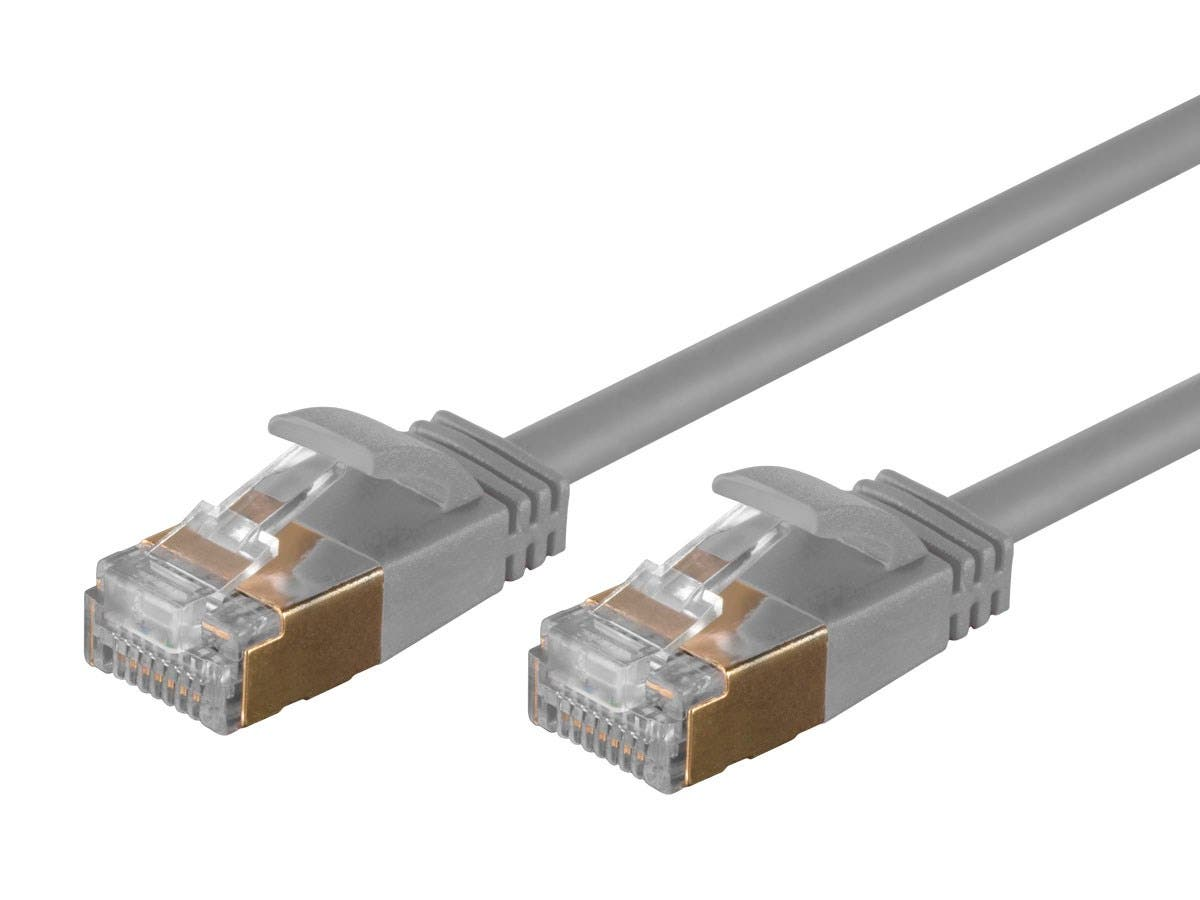 Monoprice SlimRun Cat6A Ethernet Patch Cable - Snagless RJ45, Stranded, S/STP, Pure Bare Copper Wire, 36AWG, 50ft, Gray - main image