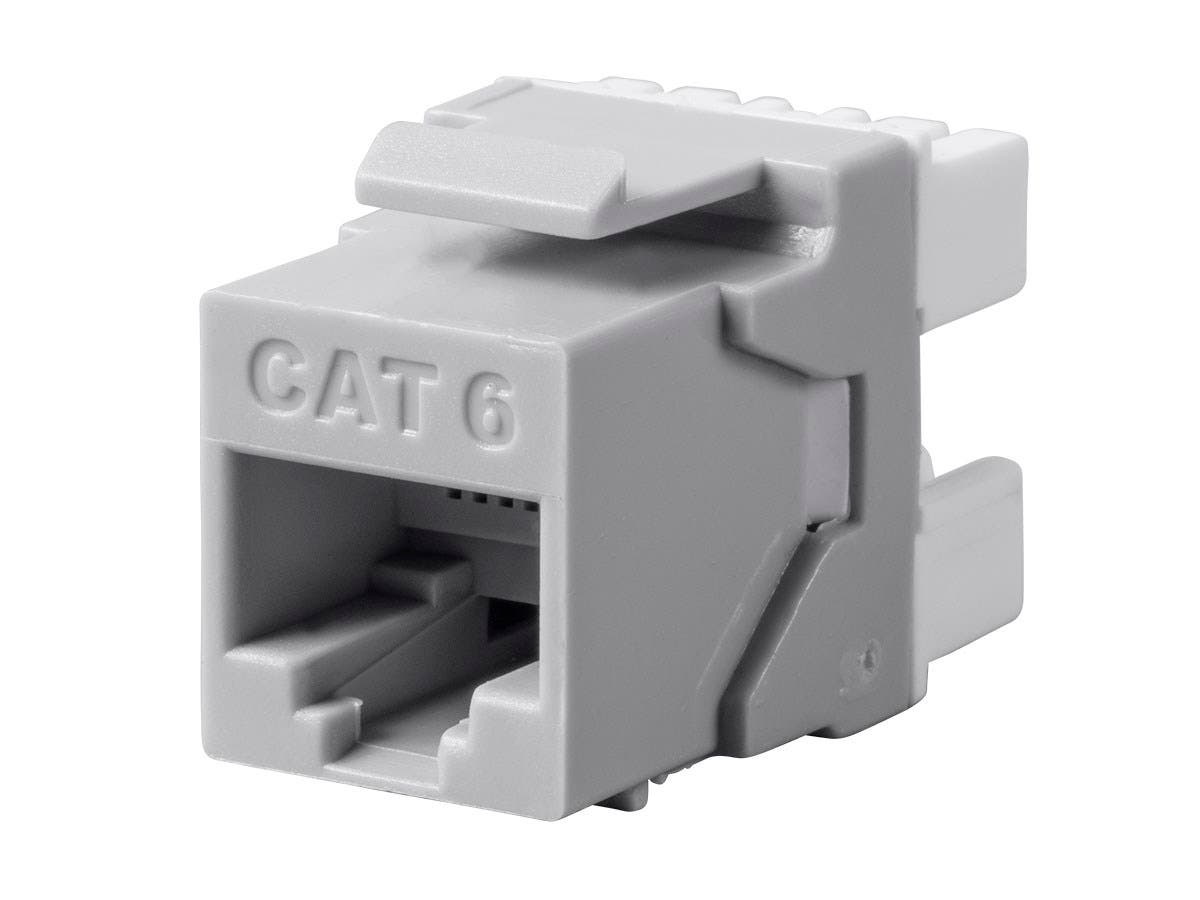 Monoprice Cat6 RJ45 180-Degree Punch Down Keystone Dual IDC, Gray - main image
