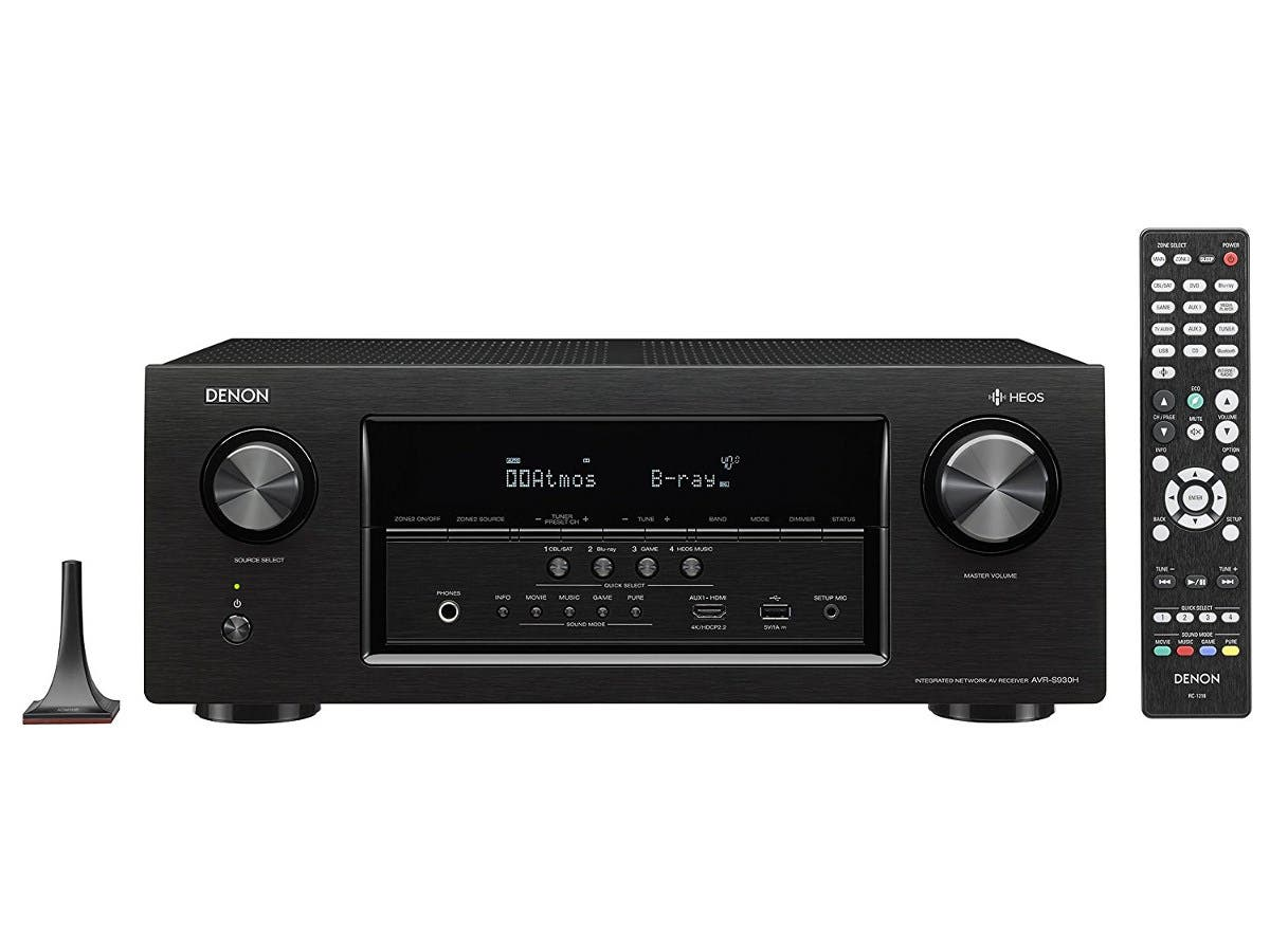 Denon AVR-S930H 7.2-Ch. Dolby Atmos & DTS:X HEOS 4K Ultra HD and 3D Pass-Through A/V Home Theater Receiver - Black