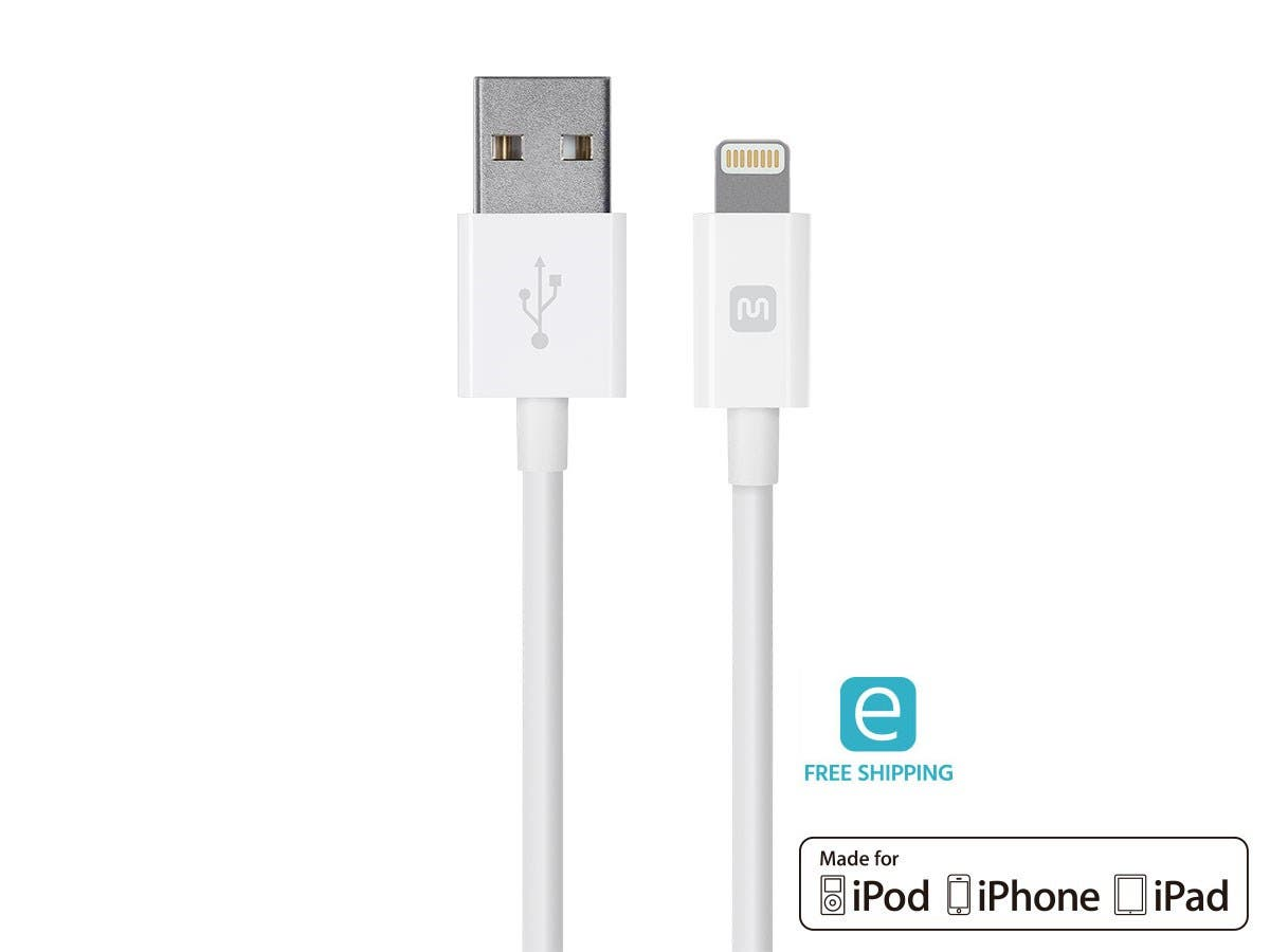 Monoprice Essentials Apple MFi Certified Lightning to USB Charge & Sync Cable, 10ft White-Large-Image-1