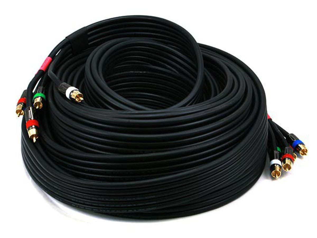 Monoprice 50ft 18AWG CL2 Premium 5-RCA Component Video/Audio Coaxial Cable (RG-6/U) - Black-Large-Image-1