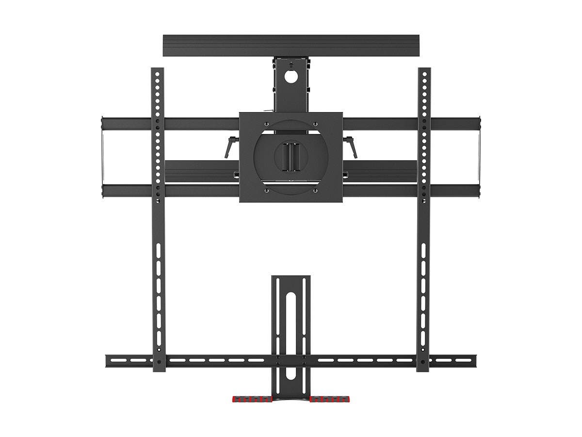 monoprice above fireplace pull down full motion articulating tv wall mount bracket for tvs 55in. Black Bedroom Furniture Sets. Home Design Ideas